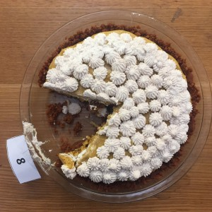 First Place Pie: Leah Rosenthal's Pumpkin Chiffon Pie. Congrats, Leah!